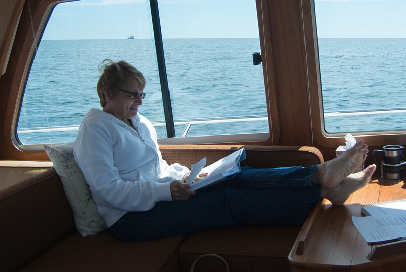 5 kt SE wind, flat seas, sunny, relaxing trans Erie voyage and a great trip!!