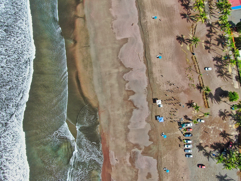 People at the beach aerial photograph
