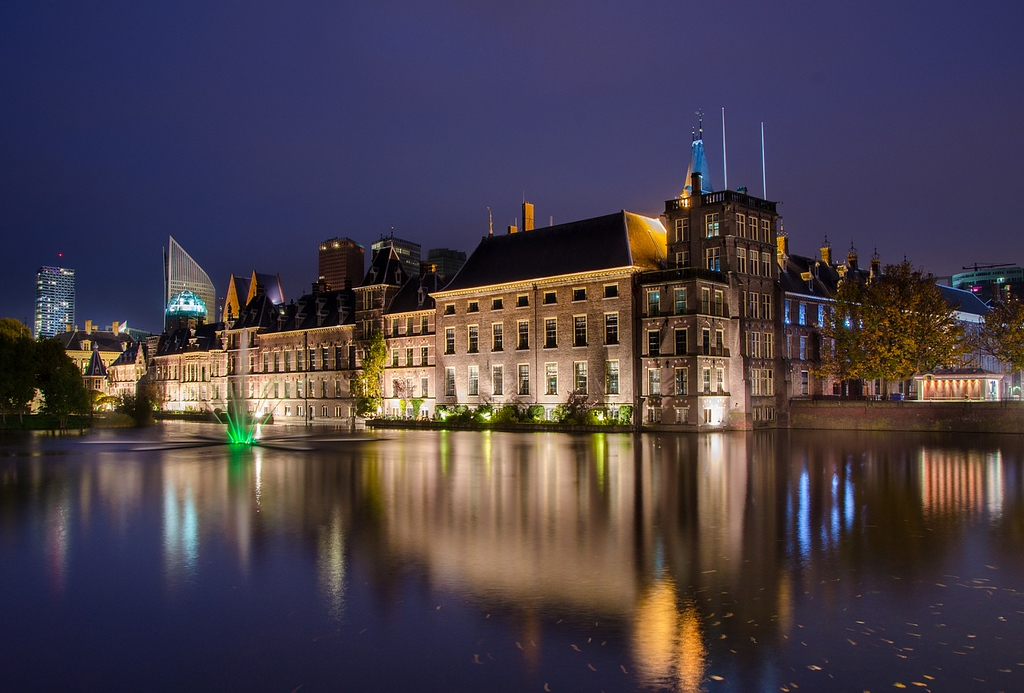 The Hague at night