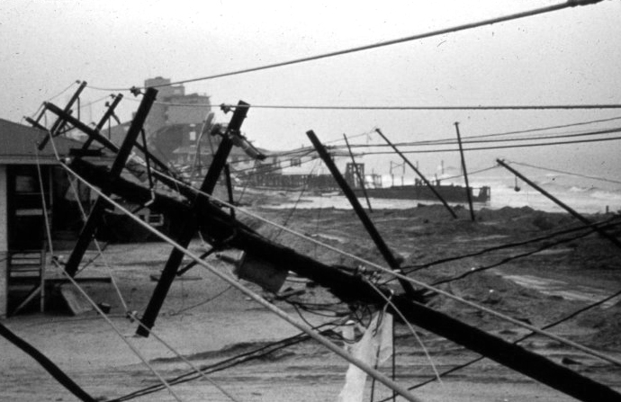 . Utility poles and lines down in Garden City, South Carolina After passage of Hurricane Hugo, 1989. Wes Tyler, South Carolina Climatological Office. NOAA\'s National Weather Service (NWS) Collection