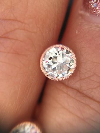 0.96ctw Old European Cut Diamond Bezel Earrings