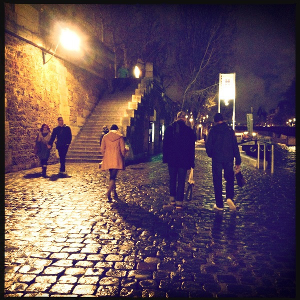 NIght time stroll along the Seine with Jude and Tony