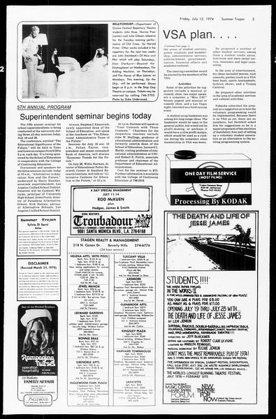 Summer Trojan, Vol. 67, No. 7, July 12, 1974