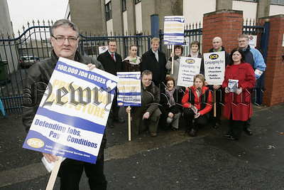 Austin McCusker Seceratary of the pcs union pictured with protesters at their strike on Wednesday last. 07W6N4