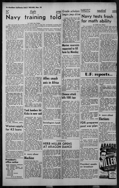 Daily Trojan, Vol. 34, No. 108, March 19, 1943
