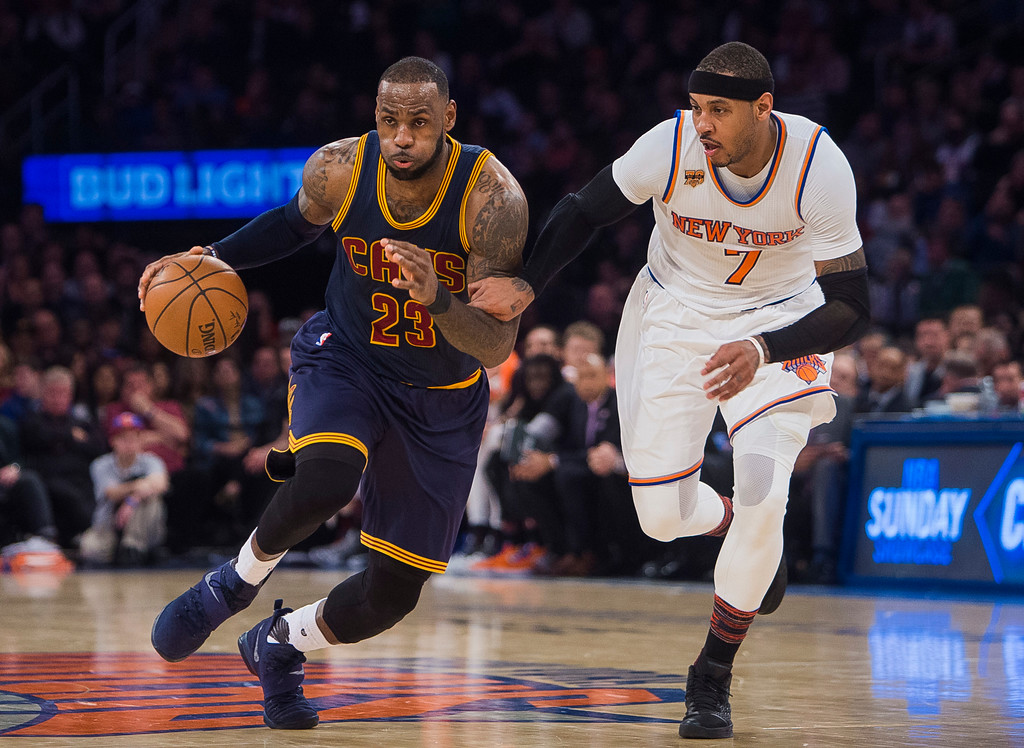 . Cleveland Cavaliers\' LeBron James (23) drives to the basket against New York Knicks\' Carmelo Anthony (7) during the first half of an NBA basketball game, Saturday, Feb. 4, 2017, in New York. (AP Photo/Andres Kudacki)