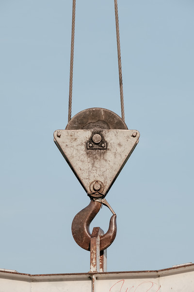 Detail of a boat lifting crane in Geneva