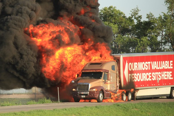 Truck on Fire outside Butler MO