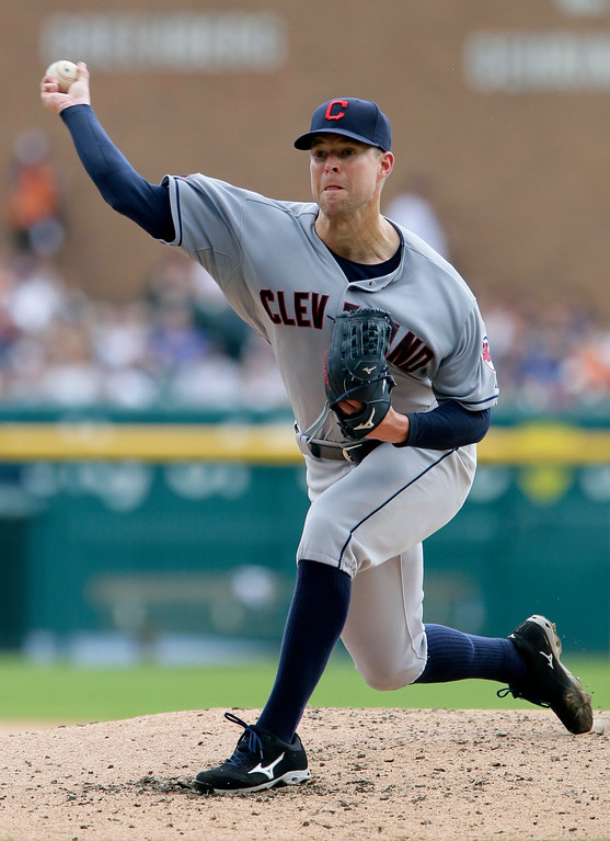 . Cleveland Indians\' Corey Kluber pitches against the Detroit Tigers during the fourth inning of a baseball game Sunday, June 14, 2015, in Detroit. (AP Photo/Duane Burleson)
