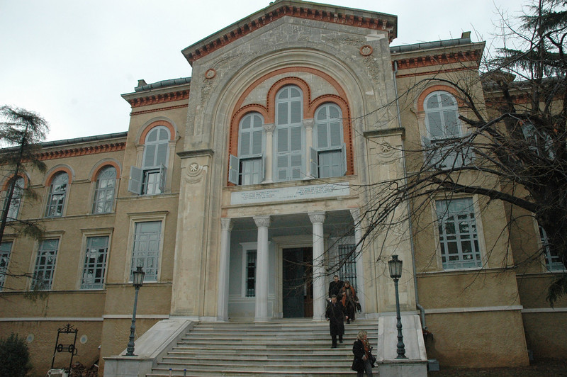 The main building of the Monastery of the Holy Trinity and Theological School, Halki island, Turkey.