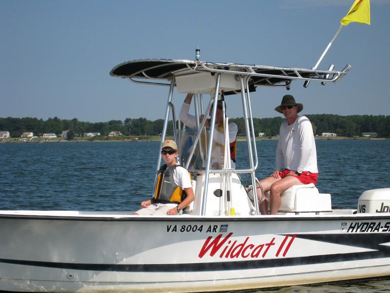 Conrad Roos, Joe Roos and Brad Miller aboard Wildcat