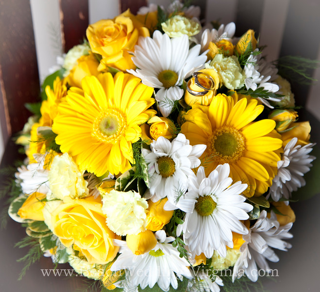 yellow and white, hand-tied