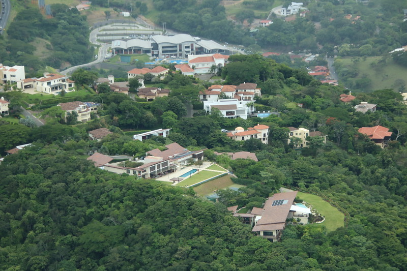Aerial view of the Santa Ana Country Club, Villa Real and Ruta 27 in San Jose, Costa Rica