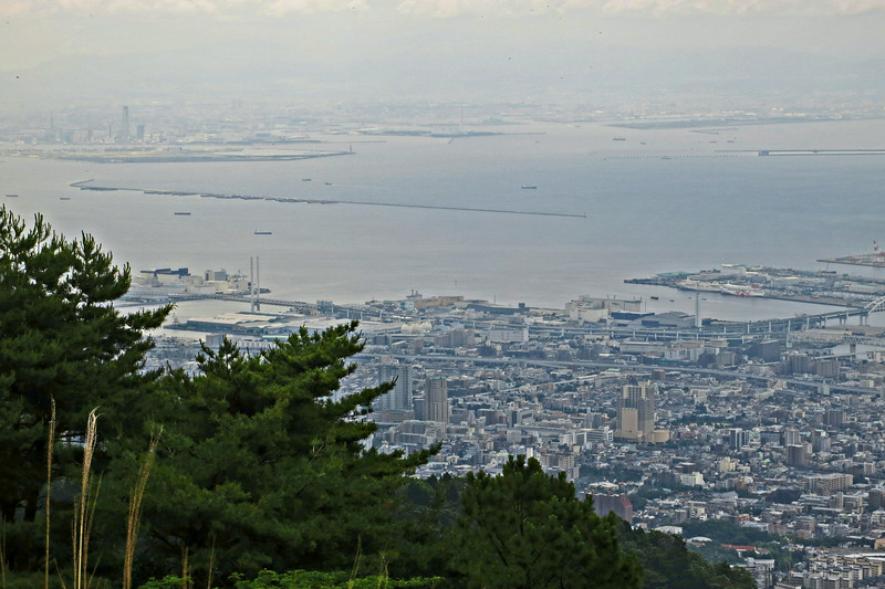 The view from Mount Rokko; Osaka is across the bay.