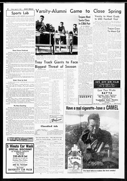 Daily Trojan, Vol. 52, No. 110, April 21, 1961