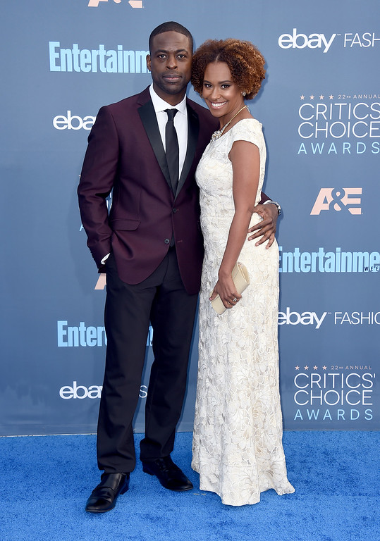 . Sterling K. Brown, left, and Ryan Michelle Bathe arrive at the 22nd annual Critics\' Choice Awards at the Barker Hangar on Sunday, Dec. 11, 2016, in Santa Monica, Calif. (Photo by Jordan Strauss/Invision/AP)
