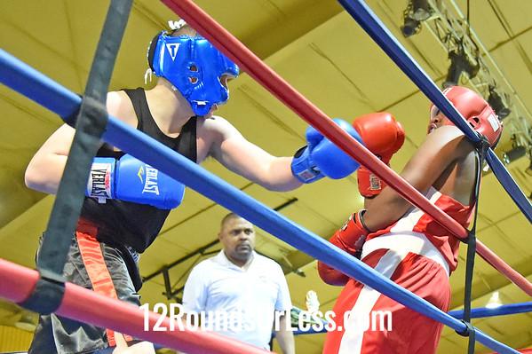 Bout 8 Drew Smith, Blue Gloves, Salem BC -vs- Andre Arthur II, Red Gloves, Bullpen Boxing (Toledo), 165 Lbs, Junior, 2 Min.