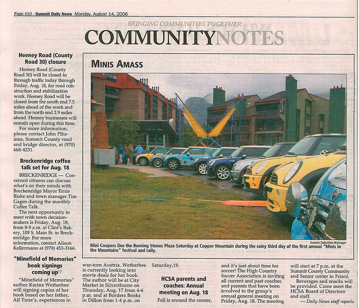 A photo some of the MITM MINIs at Burning Stones in the local Summit Daily News on Aug. 14th. My car is 5th from the left or right.
