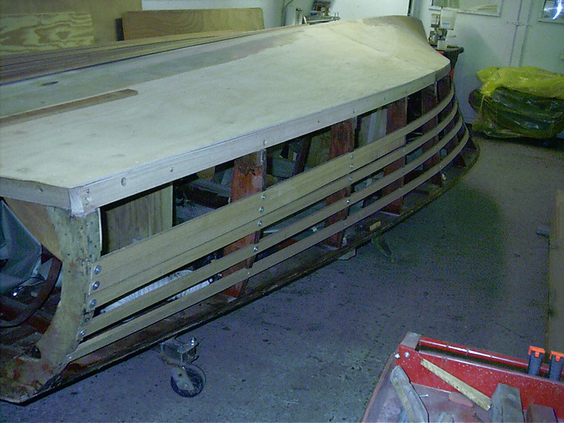 Rear view of new port side battens.