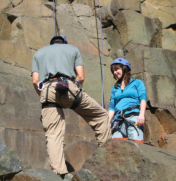 Scott getting Erin ready to climb.