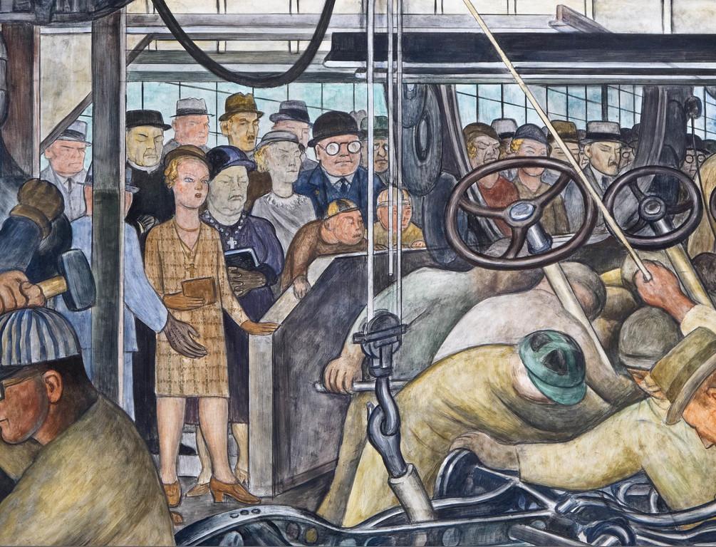 . Detroit Industry, south wall (detail), Diego Rivera, 1932-33, fresco. Detroit Institute of Arts (public tour)