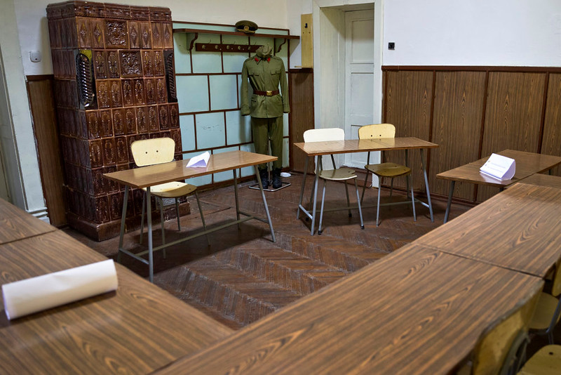 . A picture taken on Dec. 15, 2014 shows the desk, top right, at the military garrison, turned museum, in Targoviste, Romania, where Romanian communist dictator Nicolae Ceausescu and his wife Elena sat during their trial  before being executed on Dec. 25, 1989. (AP Photo/Vadim Ghirda)