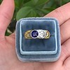 1.55ctw Old Mine Cut and Sapphire Gypsy Ring, GIA 3