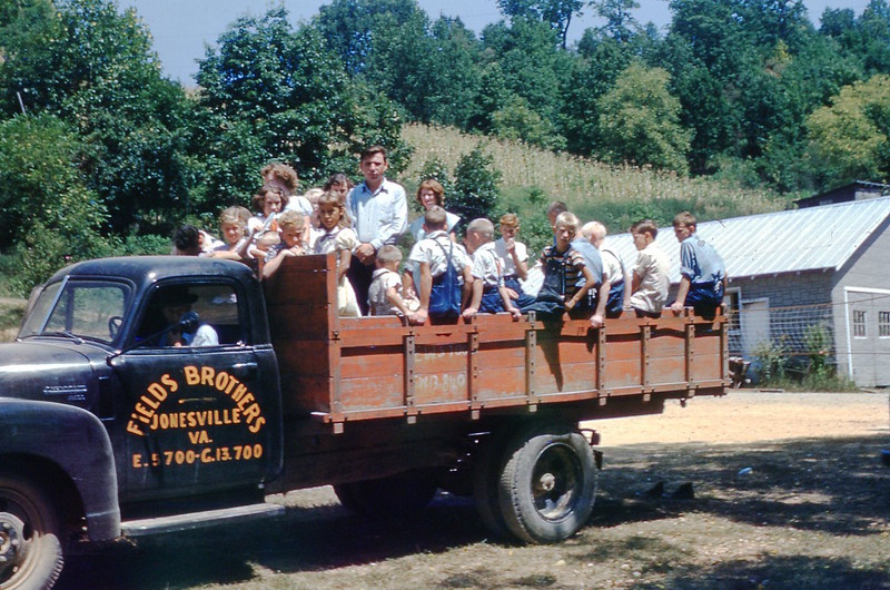 1953 - Perry Fields' Truck bringing SS Pupils to Mt. Washington SS.jpg