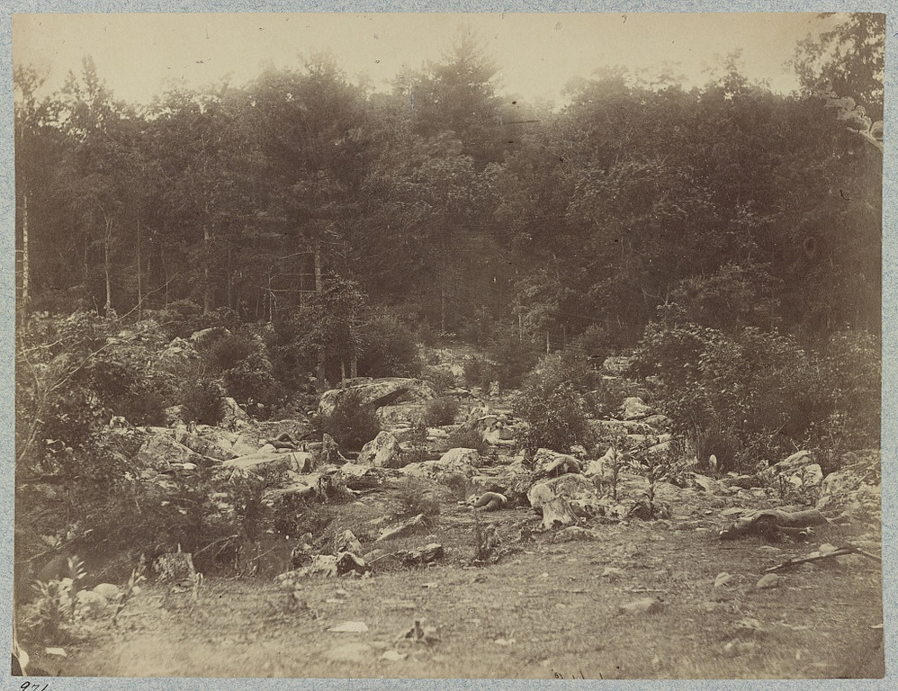 . The battle-field of Gettysburg. The valley of the shadow of death. Between Round Top and Little Round Top. (O\'Sullivan, Timothy H., 1840-1882, photographer)  - Library of Congress Prints and Photographs Division Washington, D.C.