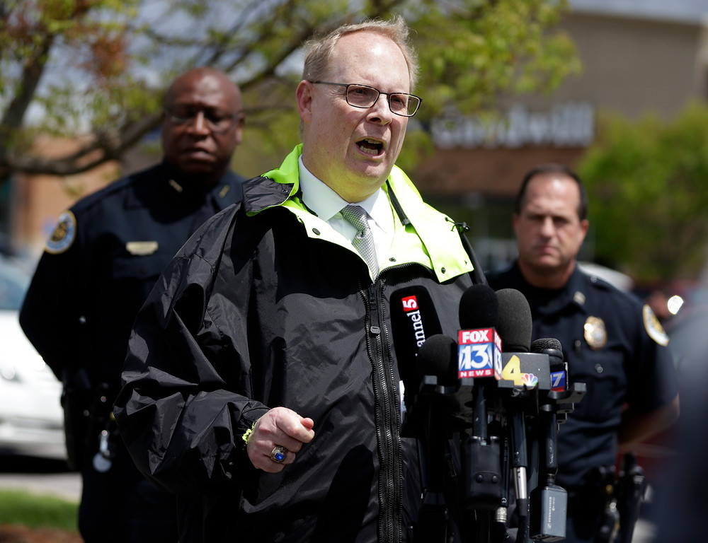 . Don Aaron, public affairs manager for the Metro Nashville Police Department, speaks at a news conference Monday, April 23, 2018, in Nashville, Tenn., regarding the search for a gunman who opened fire Sunday at a Waffle House restaurant. A suspect police have identified as 29-year-old Travis Reinking shot and killed at least four people at the restaurant. (AP Photo/Mark Humphrey)