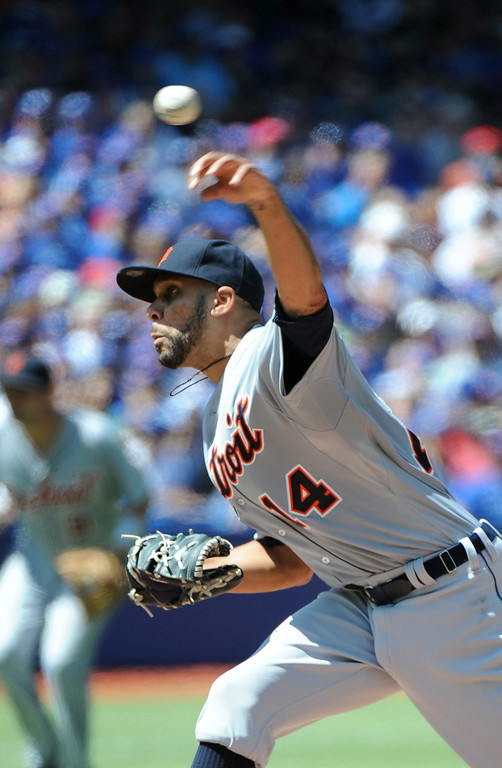 . Detroit Tigers\' David Price pitches against the Toronto Blue Jays during the first inning of a baseball game on Sunday, Aug. 10, 2014, in Toronto.  (AP Photo/The Canadian Press, Jon Blacker)