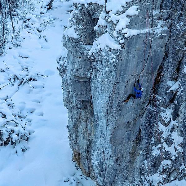 Climber in Hafner Creek, Canadian Rockies, British Columbia, Canada