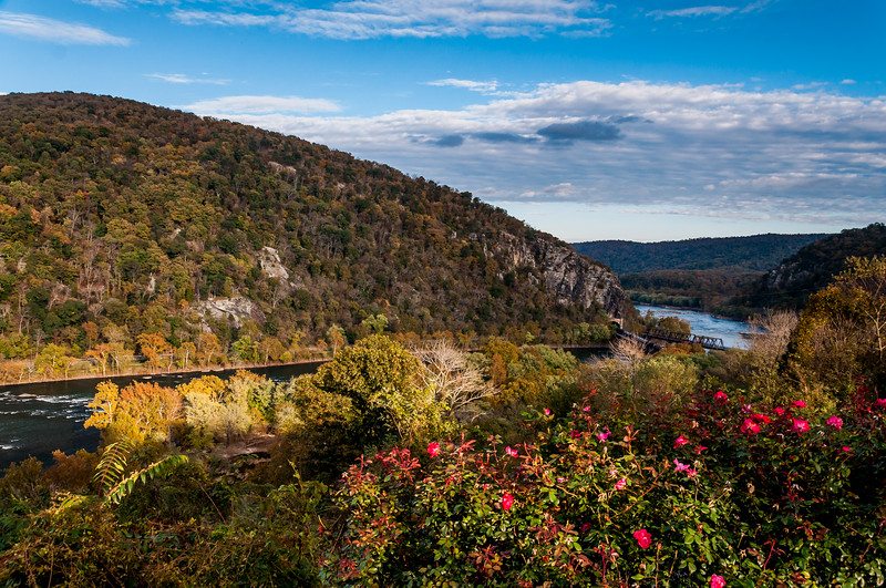 View of Maryland Heights and railroad bridges, Harpers Ferry, West Virginia