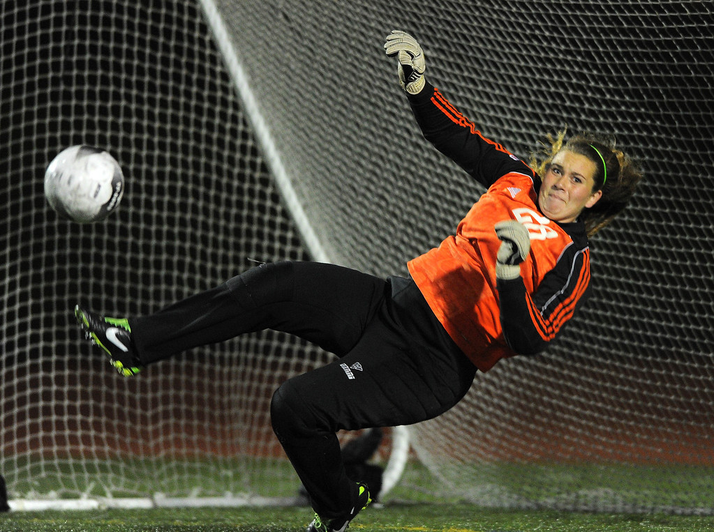 . TORRANCE - 02/12/2013 - (Staff Photo: Scott Varley/LANG) West High girls soccer beat Murrieta Valley on penalty kicks in their CIF Southern Section Division II wild-card matchup. After a 0-0 tie, West won 3-1 on PKs. West goalie Amanda Ornelas makes a stop on a penalty kick.