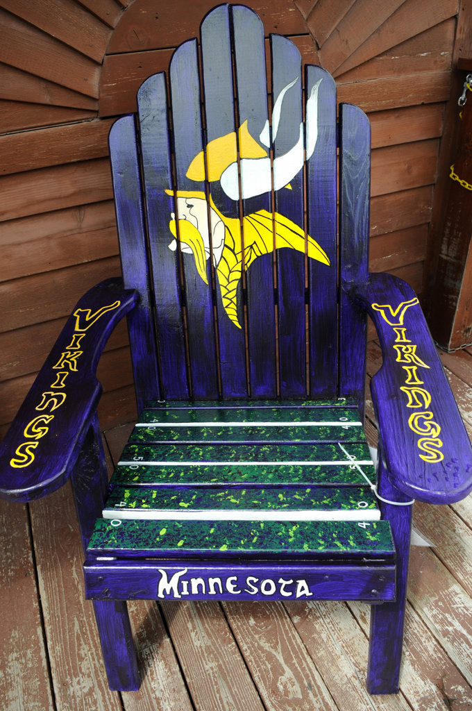 """. A chair titled \""""Skol Vikings!\"""" by Mike Dodge and Katsy Hansen  sits in front of Shafer Saloon & Grill in Shafer, Minnesota. (Pioneer Press: Jean Pieri)"""