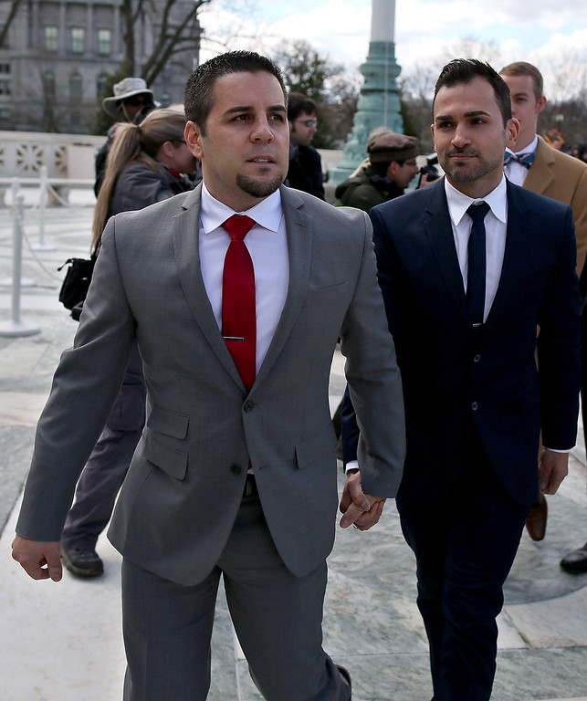 . Plaintiffs Paul Katami (R) and Jeff Zarillo leave the U.S. Supreme Court after oral arguments, on March 26, 2013 in Washington, DC. (Photo by Mark Wilson/Getty Images)