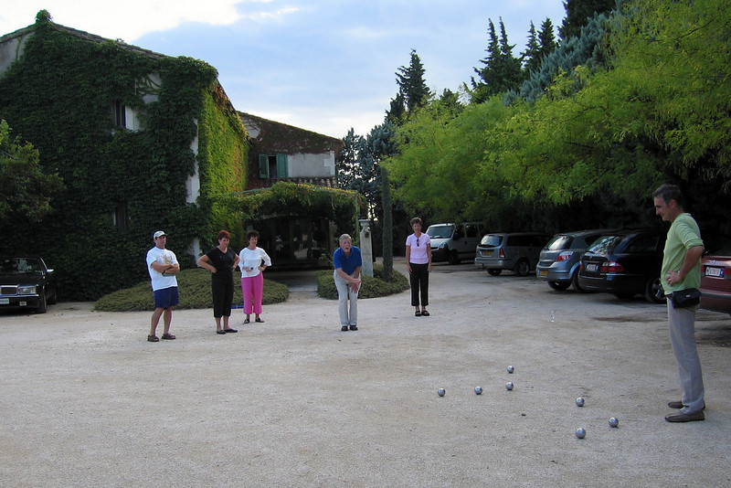 Our country inn in Graveson, learning a local version of boules.