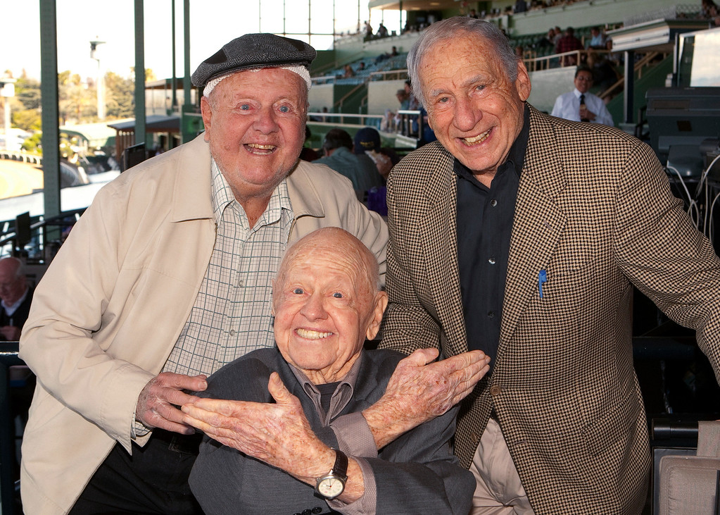 . FILE - In this Sunday, March 30, 2014, file photo, entertainment icons Dick Van Patten, left, and Mel Brooks flank Mickey Rooney at Santa Anita Park, in Arcadia Calif.  (AP Photo/Benoit Photo, File)