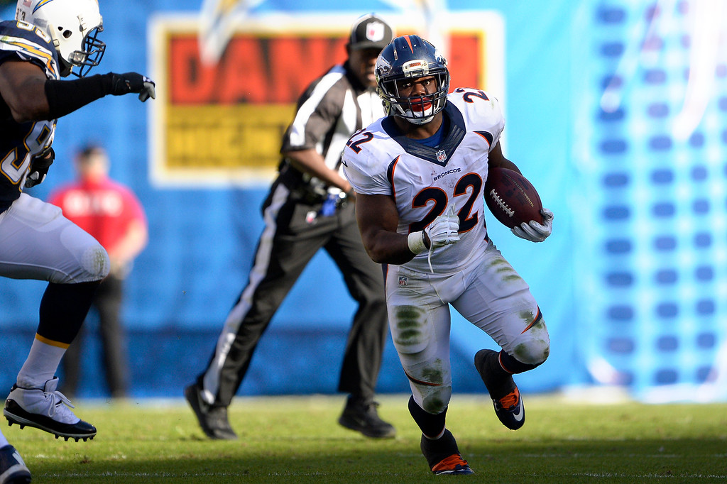 . SAN DIEGO, CA. December 14, -running back C.J. Anderson #22 of the Denver Broncos finds daylight vs the San Diego Chargers at Qualcomm Stadium December 14, 2014 San Diego, CA (Photo By Joe Amon/The Denver Post)