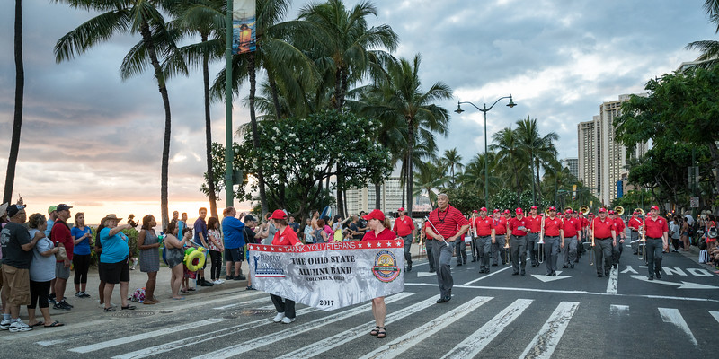 The last segment of the parade ran right along the beach