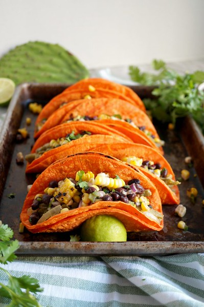 Nopales Tacos with Corn and Black Bean Salsa