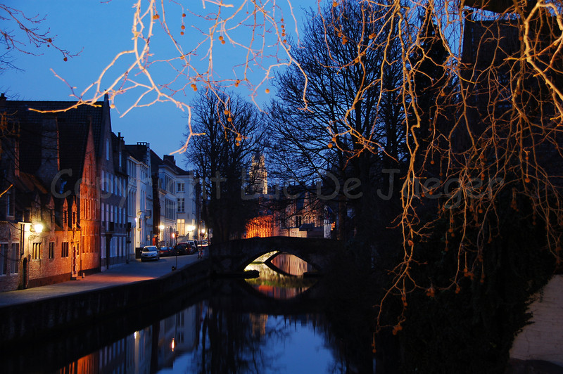 Groenerei shot at sunset from the bridge between the Langestraat and the Hoogstraat in Bruges (Brugge), Belgium.