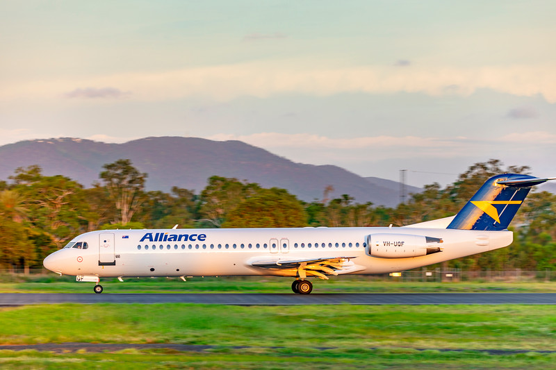 Alliance Airlines Fokker F100 VH-UQF departing Rockhampton Airport