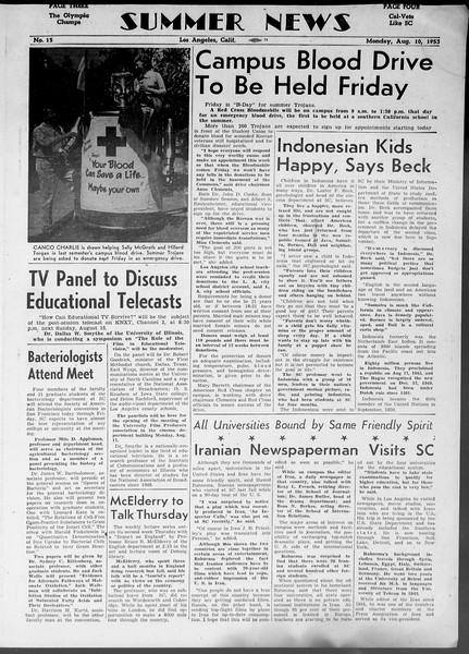 Summer News, Vol. 8, No. 15, August 10, 1953