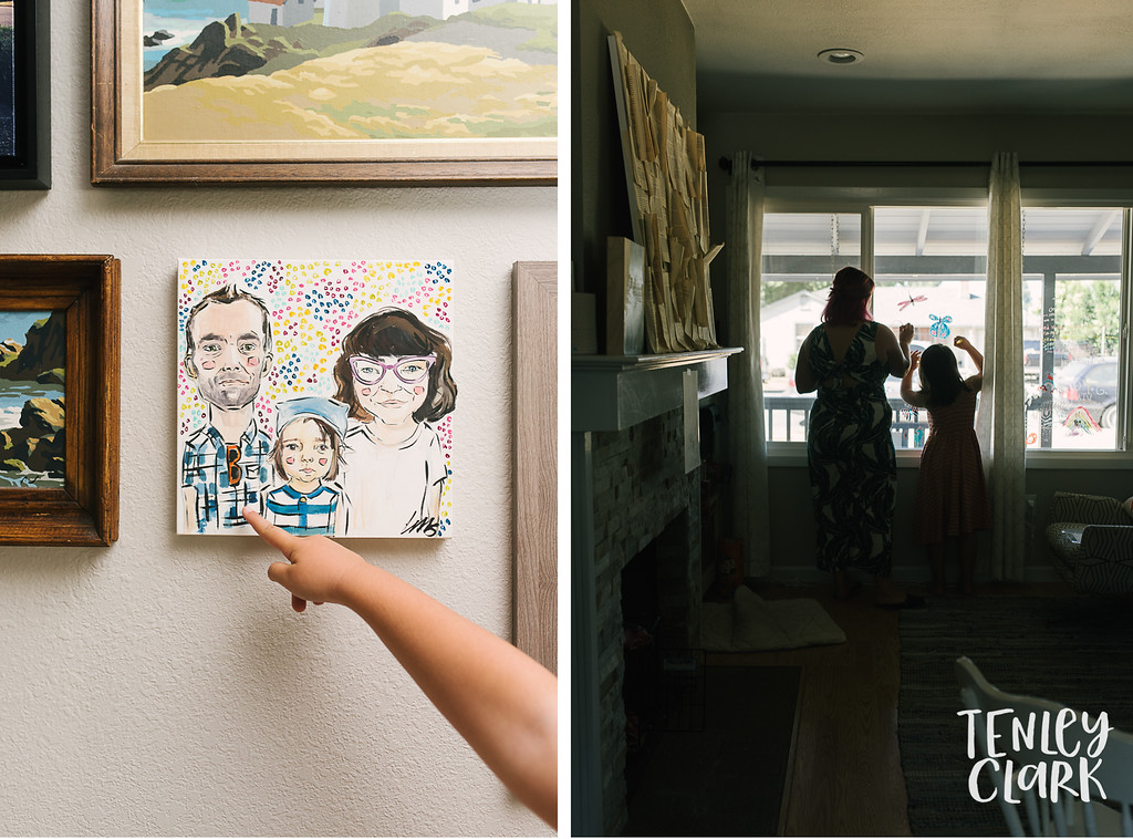 Window markers. Lifestyle in home family photography session in Fremont, CA by Tenley Clark Photography.