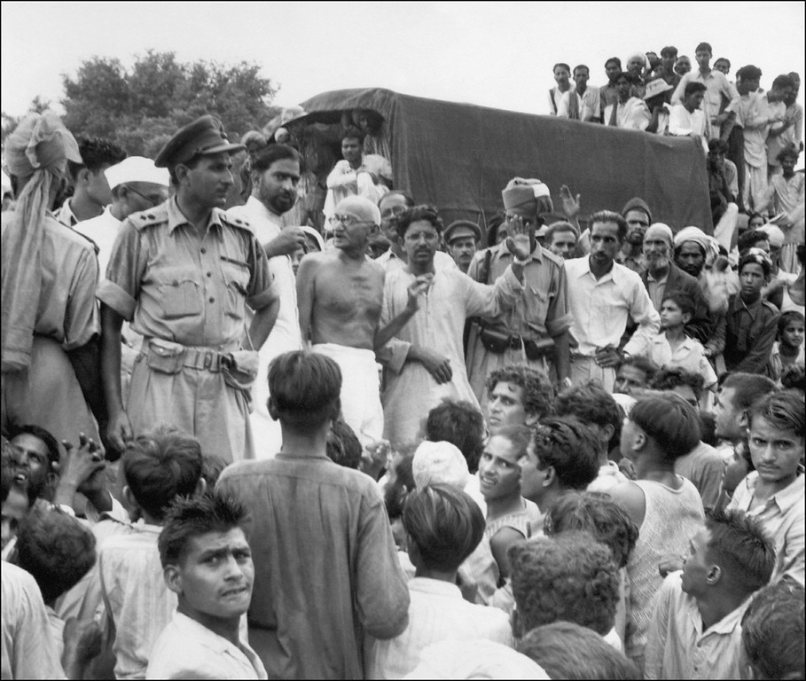 . In this photograph taken 22 September 1947, Mahatma Gandhi (C) visits Muslim refugees at Purana Qila in New Delhi, as they prepare to depart to Pakistan.   The nation of 1.1 billion people -- marking 60 years since the subcontinent was partitioned on 14 - 15 August 1947 and independence from British rule -- proudly sees itself well on the road to economic, political and social greatness. STR/AFP/Getty Images