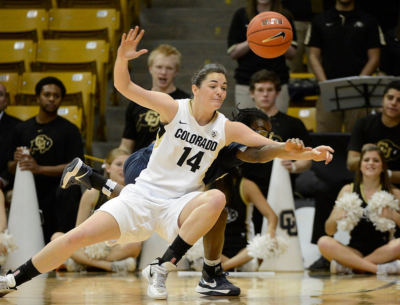 . California Golden Bears guard Eliza Pierre (4) knocks the ball away  from Colorado Buffaloes guard/forward Meagan Malcolm-Peck (14) during the first half Sunday, January 6, 2013 at Coors Events Center. John Leyba, The Denver Post