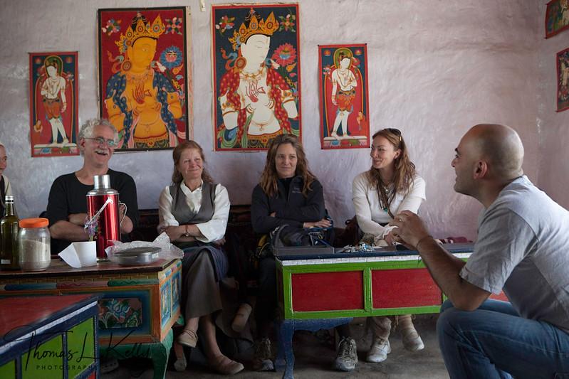 Talk on Mustang art by Luigi Fieni. Mustang, Nepal.