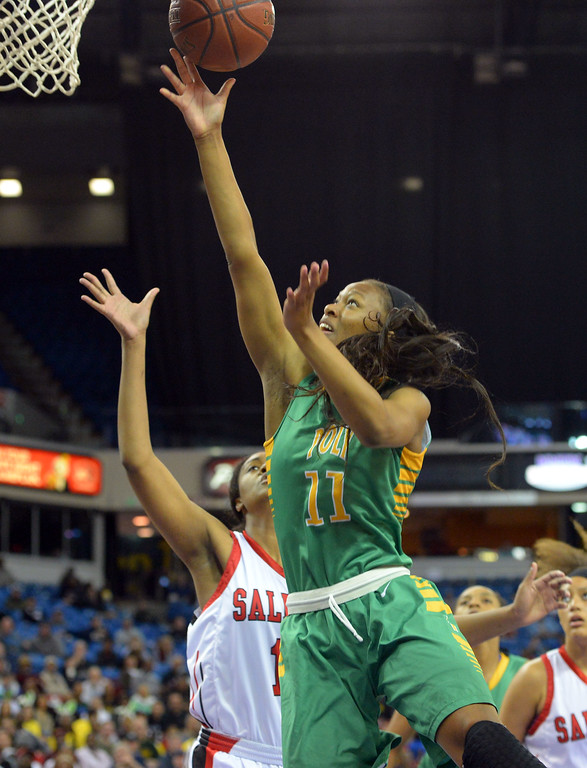 . Lajahna Drummer lays in a Poly basket at Sleep Train Arena in Sacramento, CA on Saturday, March 29, 2014. Long Beach Poly vs Salesian in the CIF Open Div girls basketball state final. 1st half. (Photo by Scott Varley, Daily Breeze)