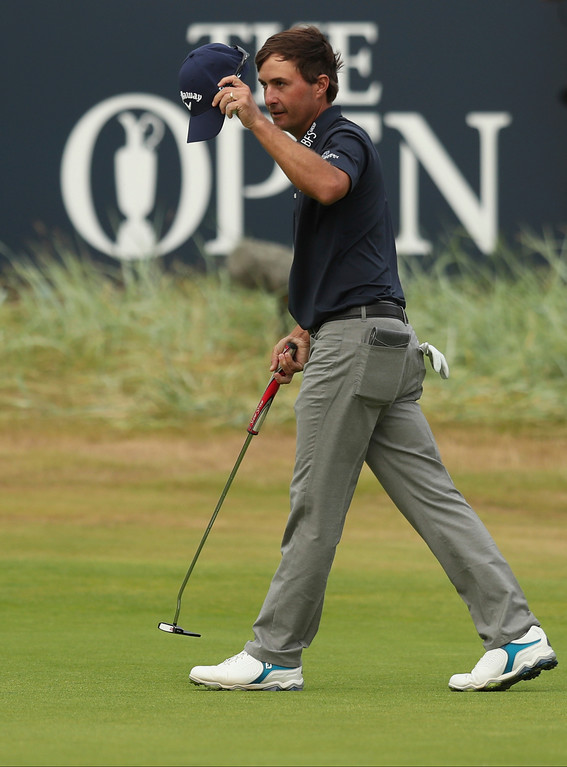 . Kevin Kisner of the US on the 18th green after the third round of the British Open Golf Championship in Carnoustie, Scotland, Saturday July 21, 2018. (AP Photo/Jon Super)